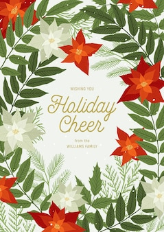 Kerstgroet met poinsettia, dennen- en dennentakken, planten, bladeren, sneeuw. xmas en gelukkig nieuwjaar uitnodiging. illustratie, kerstkaart