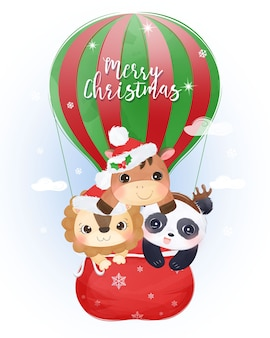 Kerstgroet met schattige dieren die samen vliegen. kerst illustratie.