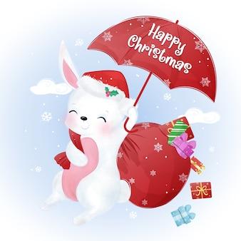 Kerstgroet met schattige konijntje vliegen. kerst illustratie.
