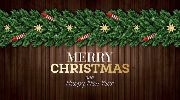 Kerstgroet met takken en decoraties op houten structuur