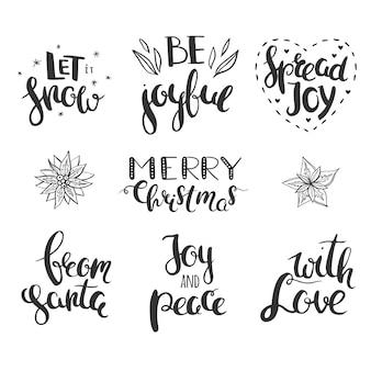 Kerstgroeten geïsoleerd op wit hand getrokken vector belettering merry christmas let it snow