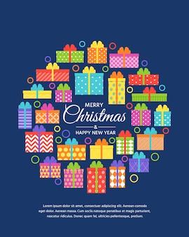 Kerstgroeten geschenkdozen. gelukkig nieuwjaar begroeting achtergrond.
