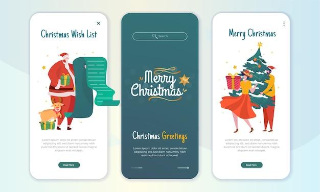 Kerstgroeten illustratie concept op scherm aan boord