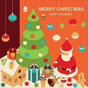 Kerstgroeten met isometrische schattig speelgoed grappige kerstman en peperkoek huis xmas