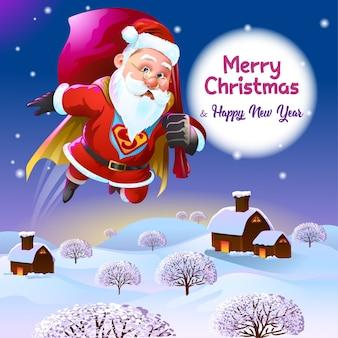 Kerstgroeten met super santa bezig met het bezorgen van cadeaus
