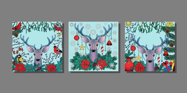 Kerstherten templstes set mock ups voor wenskaarten