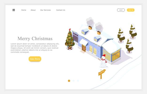 Kersthuis, kerstmis en nieuwjaarsvakantie, isometrische illustratie