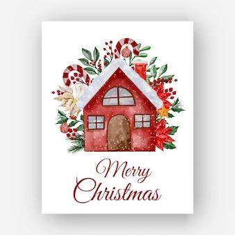 Kersthuis met bloem poinsettia aquarel illustratie