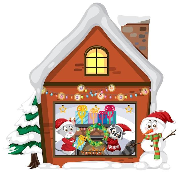 Kersthuis met schattige dieren