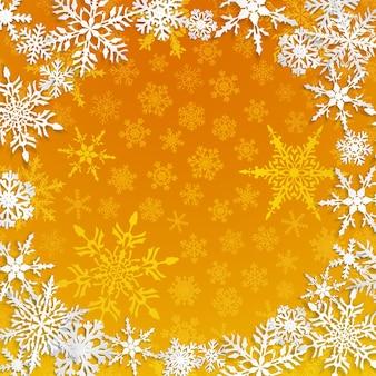 Kerstillustratie met cirkelframe van grote witte sneeuwvlokken met schaduwen op gele achtergrond