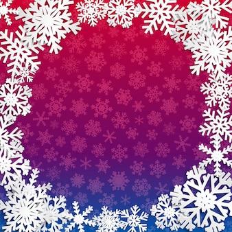 Kerstillustratie met cirkelframe van witte sneeuwvlokken op blauwe en paarse achtergrond