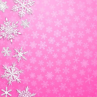 Kerstillustratie met grote witte sneeuwvlokken met schaduwen op roze achtergrond