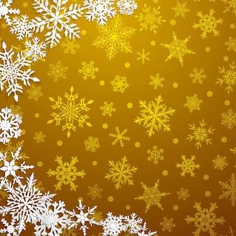 Kerstillustratie met halve cirkel van grote witte sneeuwvlokken met schaduwen op gele achtergrond