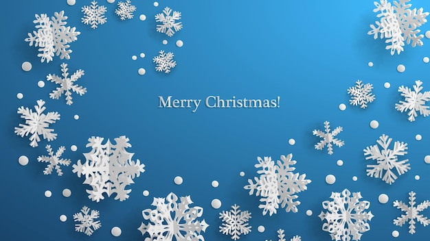 Kerstillustratie met witte driedimensionale papieren sneeuwvlokken op lichtblauwe achtergrond