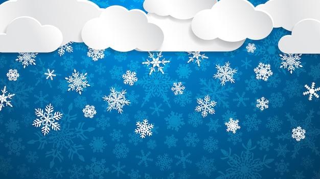 Kerstillustratie met witte wolken en sneeuwvlokken op lichtblauwe achtergrond