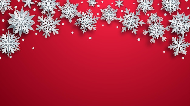 Kerstillustratie van witte complexe papieren sneeuwvlokken met zachte schaduwen op rode achtergrond