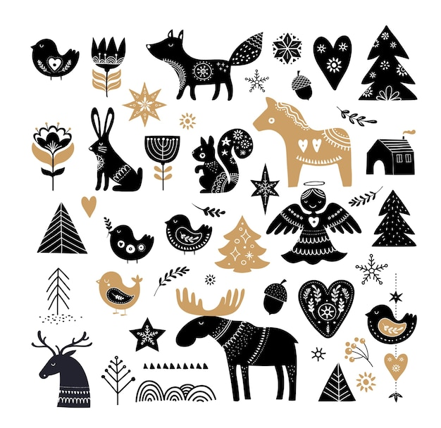 Kerstillustraties, bannerontwerp handgetekende elementen en pictogrammen in scandinavische stijl
