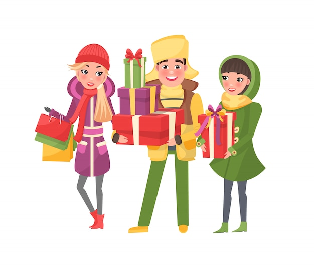 Kerstinkopen gelukkige mensen met cadeautjes