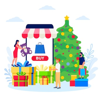 Kerstinkopen online illustratie