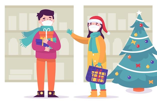 Kerstinkopen scène met maskers