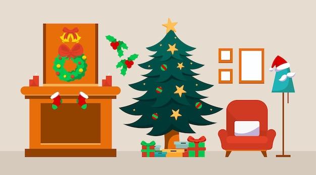 Kerstinterieur van de woonkamer met bank tv-standaard boom en kerstdecoratieaccessoires