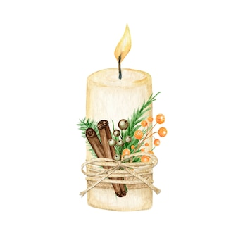 Kerstkaars met vlamdecoratie in boho-stijl met dennentakken, kaneelstokje, steranijs.