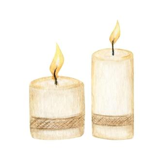 Kerstkaars met vlammen. aquarel brandende kaars geïsoleerde illustratie.