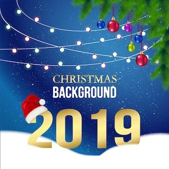 Kerstkaart 2019 op blauwe achtergrond.