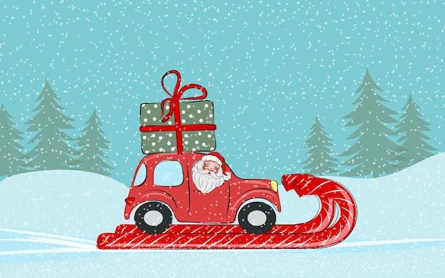 Kerstkaart de kerstman rijdt in een rode auto met een cadeautje op het dak vrolijk kerstfeest