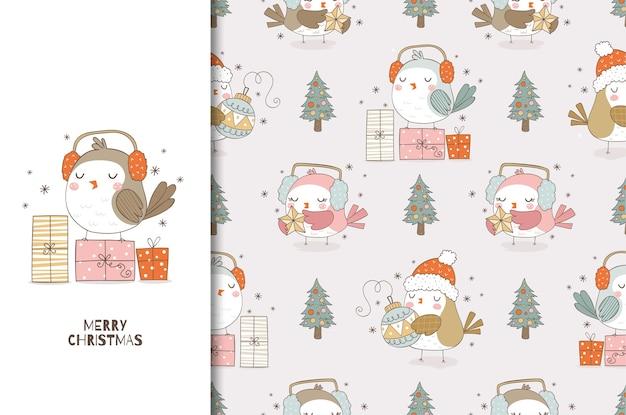 Kerstkaart en naadloze patroon set cute cartoon vogel met koptelefoon en geschenken hand getrokken ontwerp van proefbaan