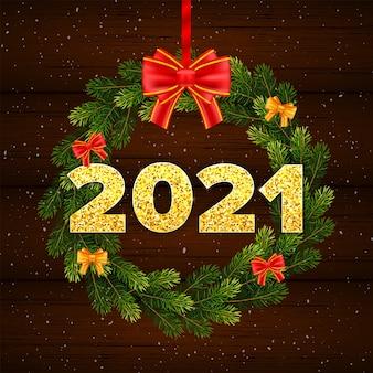 Kerstkaart gelukkig nieuwjaar 2021 met dennenboom takken krans