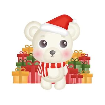 Kerstkaart met aquarel witte beer en geschenkverpakkingen.