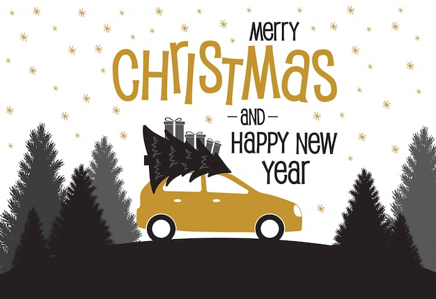 Kerstkaart met auto en kerstbomen en geschenken.
