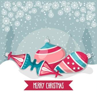 Kerstkaart met ballen. christmas wenskaart. plat ontwerp. vector