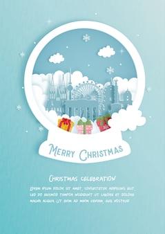 Kerstkaart met beroemde bezienswaardigheid van duitsland. kerstvieringen in papier gesneden stijl. illustratie.