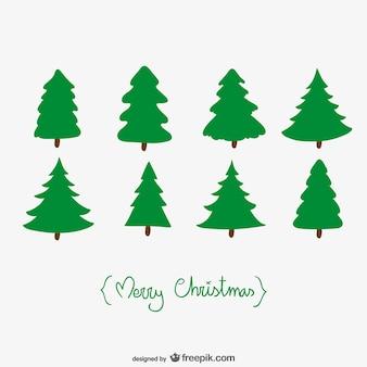 Kerstkaart met bomen