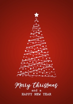 Kerstkaart met boom en belettering
