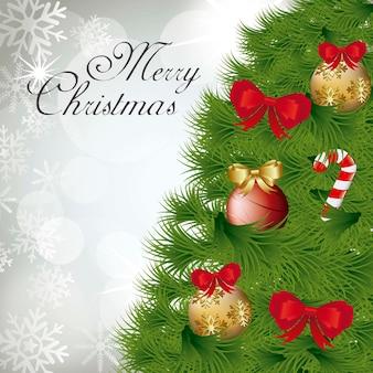 Kerstkaart met boom over grijze achtergrond vector