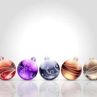Kerstkaart met bubbels en kopieer ruimte.