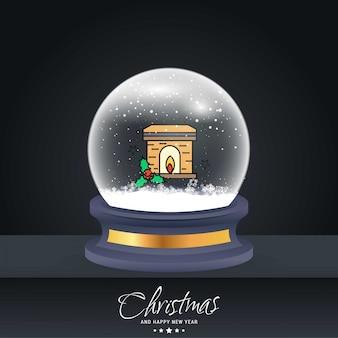 Kerstkaart met creatief elegant ontwerp en globe ook met donkere achtergrond vector