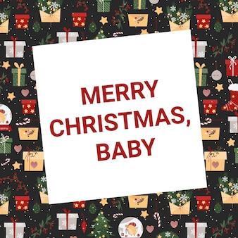 Kerstkaart met de inscriptie merry christmas baby