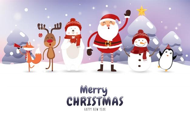 Kerstkaart met de kerstman, ijsbeer, sneeuwpop, rendieren, vos en penguin.