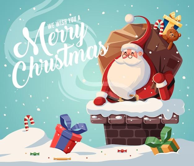 Kerstkaart met de kerstman in de schoorsteen