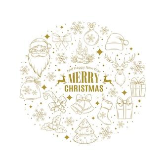 Kerstkaart met decoratieve pictogrammen