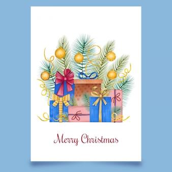 Kerstkaart met dozen van snoepjes met naaldboom