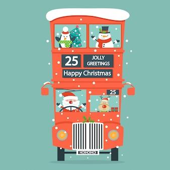 Kerstkaart met dubbele decker-bus.