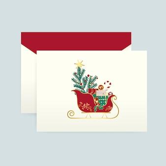 Kerstkaart met een envelop vector