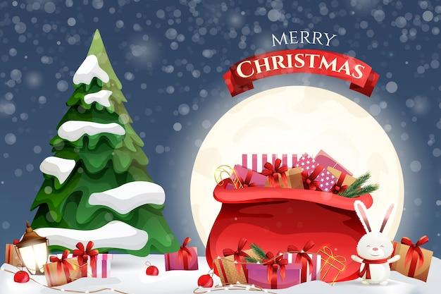 Kerstkaart met een grote zak met geschenken op de achtergrond.