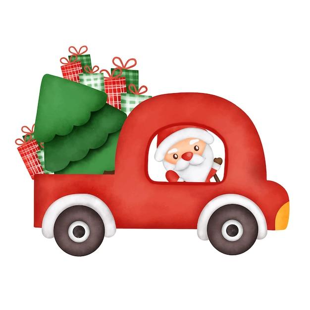 Kerstkaart met een rode auto en de kerstman
