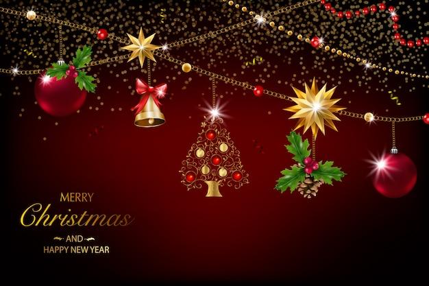 Kerstkaart met een samenstelling van feestelijke elementen zoals gouden ster, bessen, decoraties voor de kerstboom, pijnboomtakken. vrolijk kerstfeest en een gelukkig nieuwjaar. glitter decoratie, goud